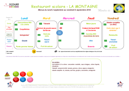 Menus standards - du 2 septembre au 18 octobre 2019